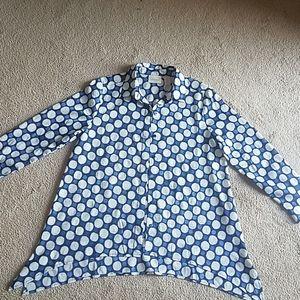 Chico's navy blue and white polka dot shirt S 0 pe